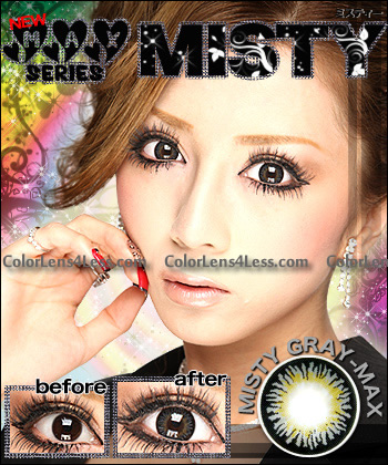 Misty Gray Colored Contacts (PAIR)