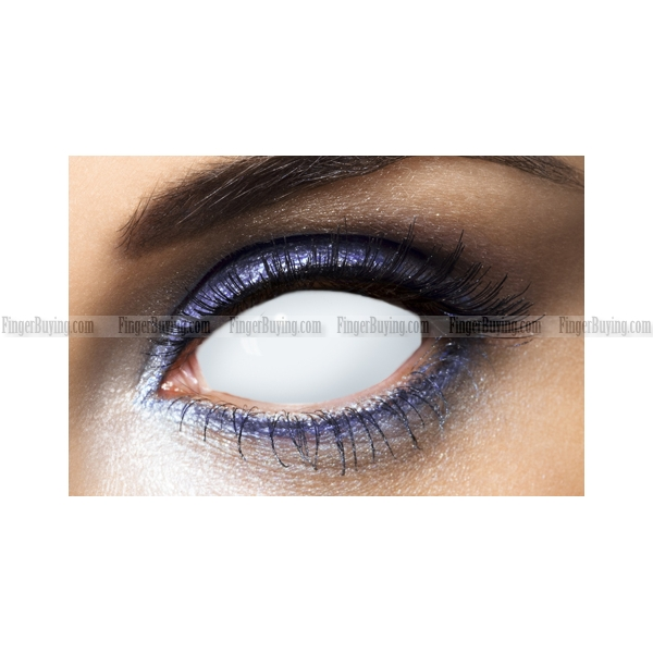 FULL ALL WHITE BLIND SCLERA CRAZY CONTACT LENS (PAIR) FULL ...