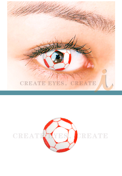 Red Soccer Crazy Contact Lens(PAIR)