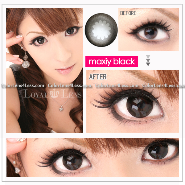 Maxiy Black Colored Contacts (PAIR)
