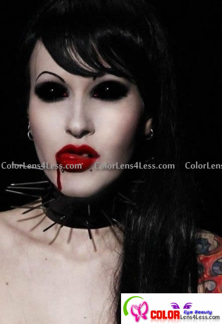 Black Full Eyes Sclera Contacts (PAIR)