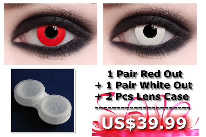 1 Pair Red Out + 1 Pair White Out with Free Lenses Case