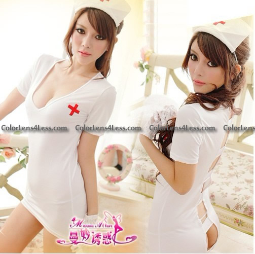 3PC Set White Sexy Deep -V Open Lolita Nurse Costume Dress Cospl
