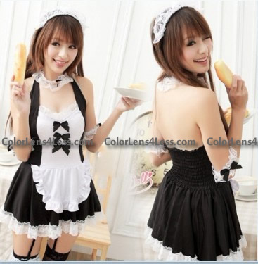 Sexy Costume black Women Maid Costume &garter belt style