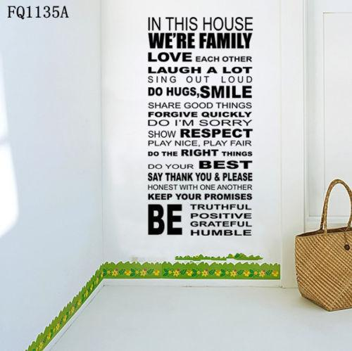 Family House Rules Quote WALL STICKERS REMOVABLE HOME DECAL Art