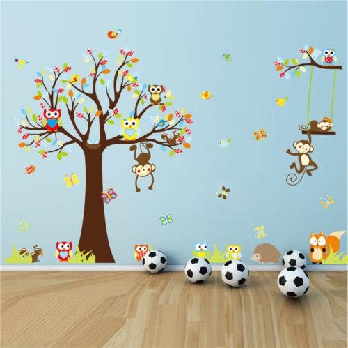 Forest Animal Monkey Owls Tree Wall Sticker Vinyl Mural Decal K