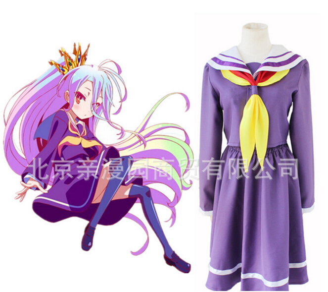 No Game No Life NGNL Shiro Japanese School Girls' Uniform Cospla