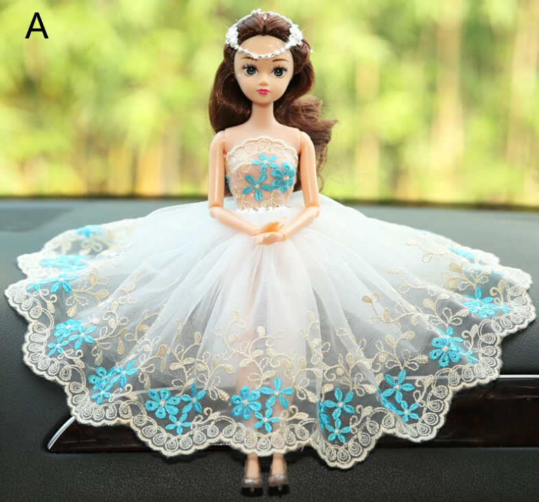 Blue Flower Barbie Wedding Dolls For Car Decoration