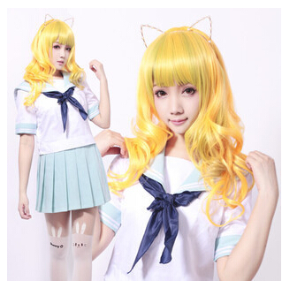 Golden Yellow Long Curly Costume Wigs