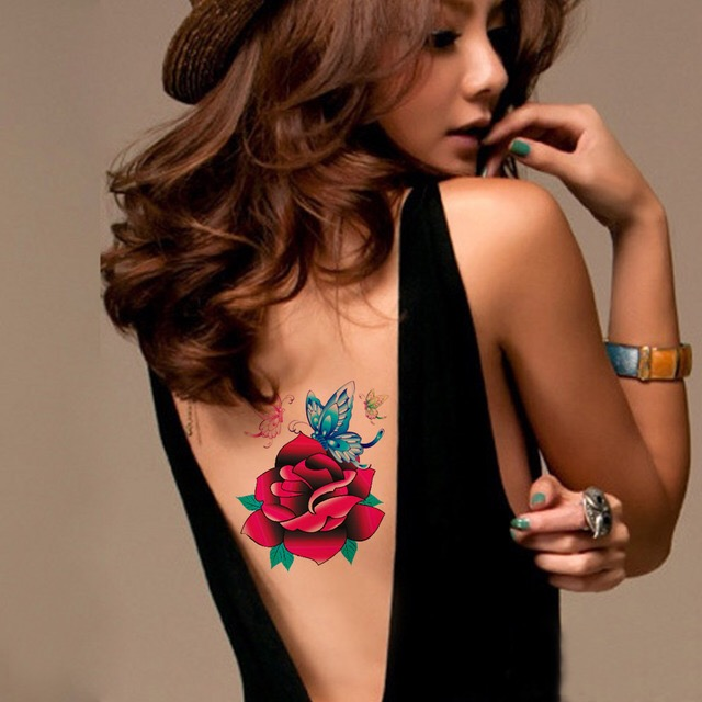 ROSE Tattoo Sticker Waterproof Temporary Tattoo HM115