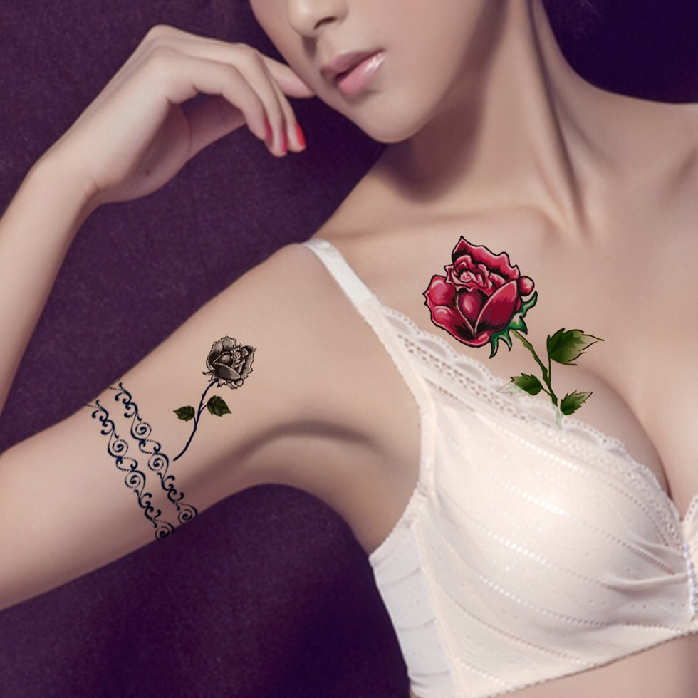 ROSE Tattoo Sticker Waterproof Temporary Tattoo HM215