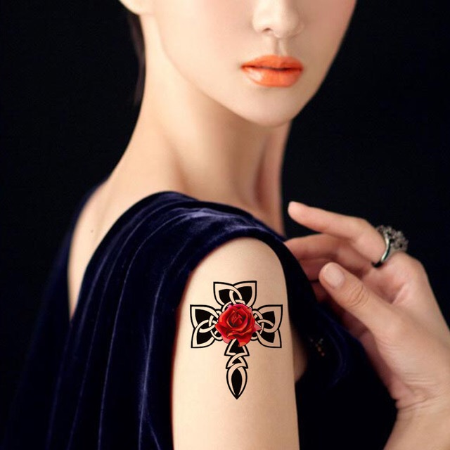 CROSS ROSE WATERPROOF TEMPORARY TATTOO STICKER HM644