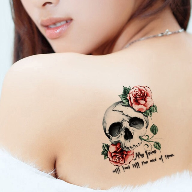 SKULL ROSE TATTOO WATERPROOF STICKER HM750