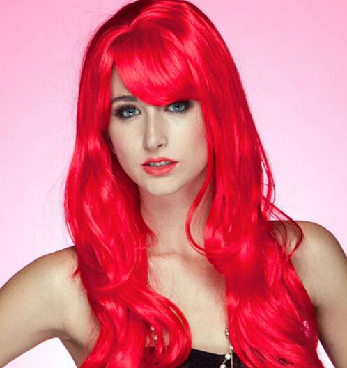 Soft Waves Long Wig with Band Red