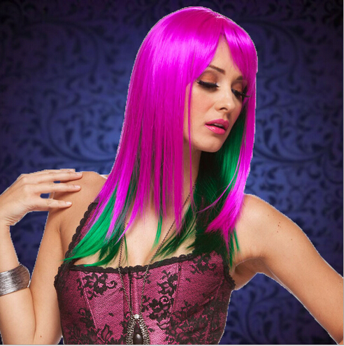 Purple Green Enchanted Medium Wigs