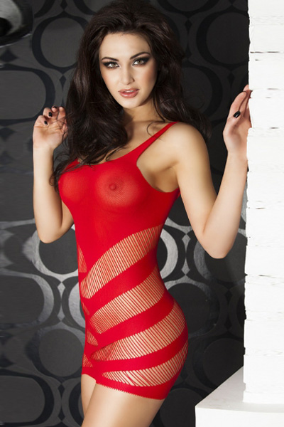 Red Sexy Striped Cutout Mini Chemise Dress