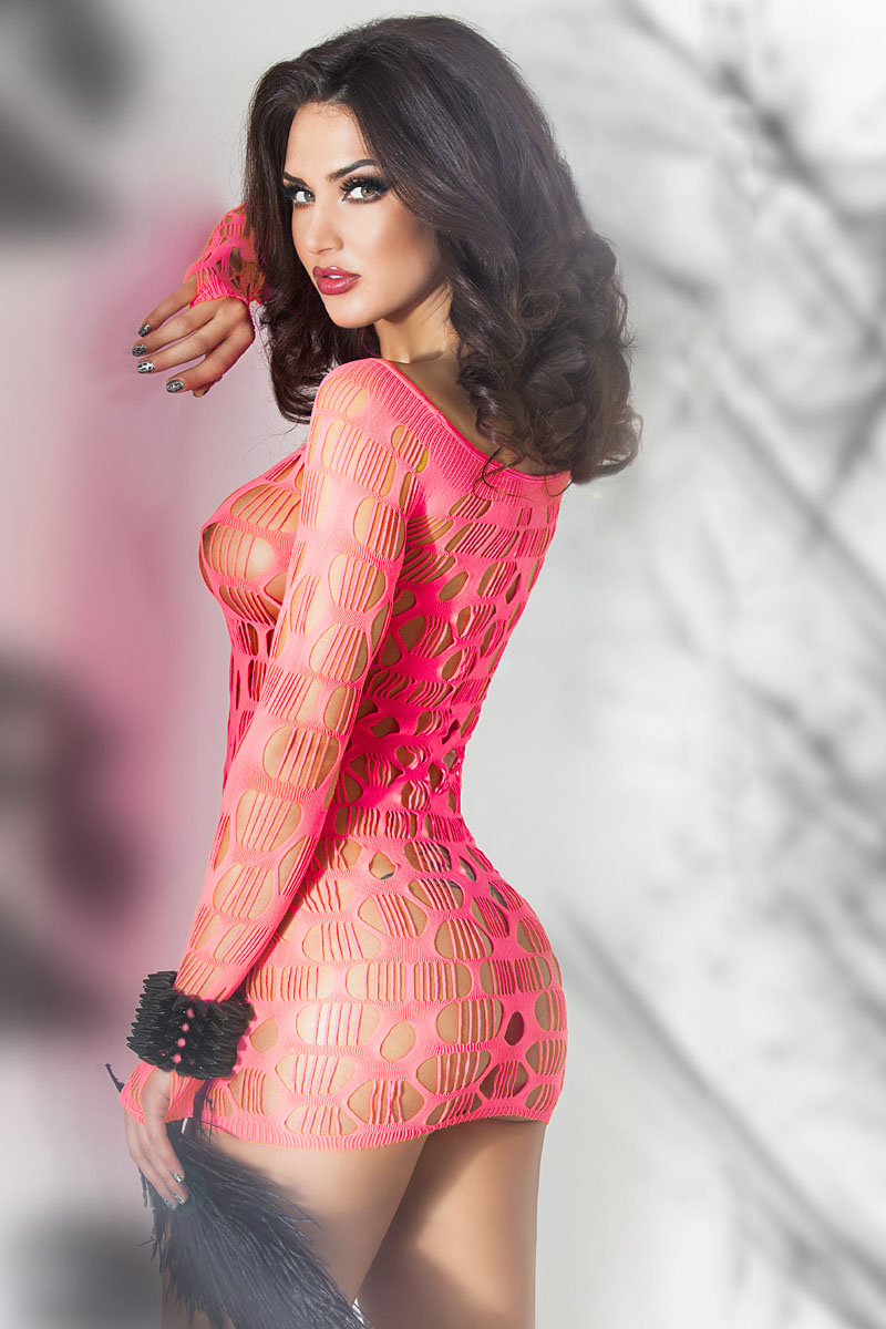 Neon Pink Seamless Mini Dress Chemise