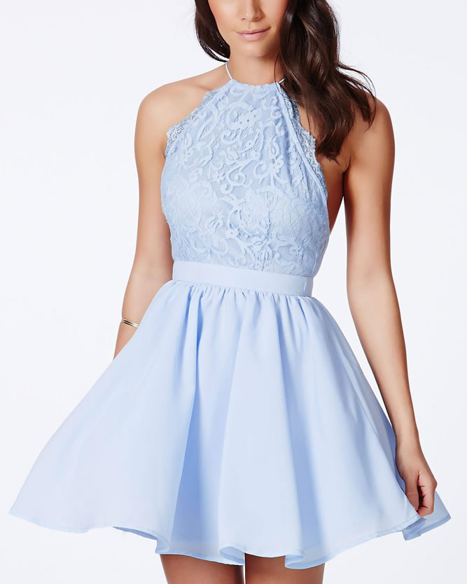 Baby Blue Cross Back Lace Detail Party Skater Dress