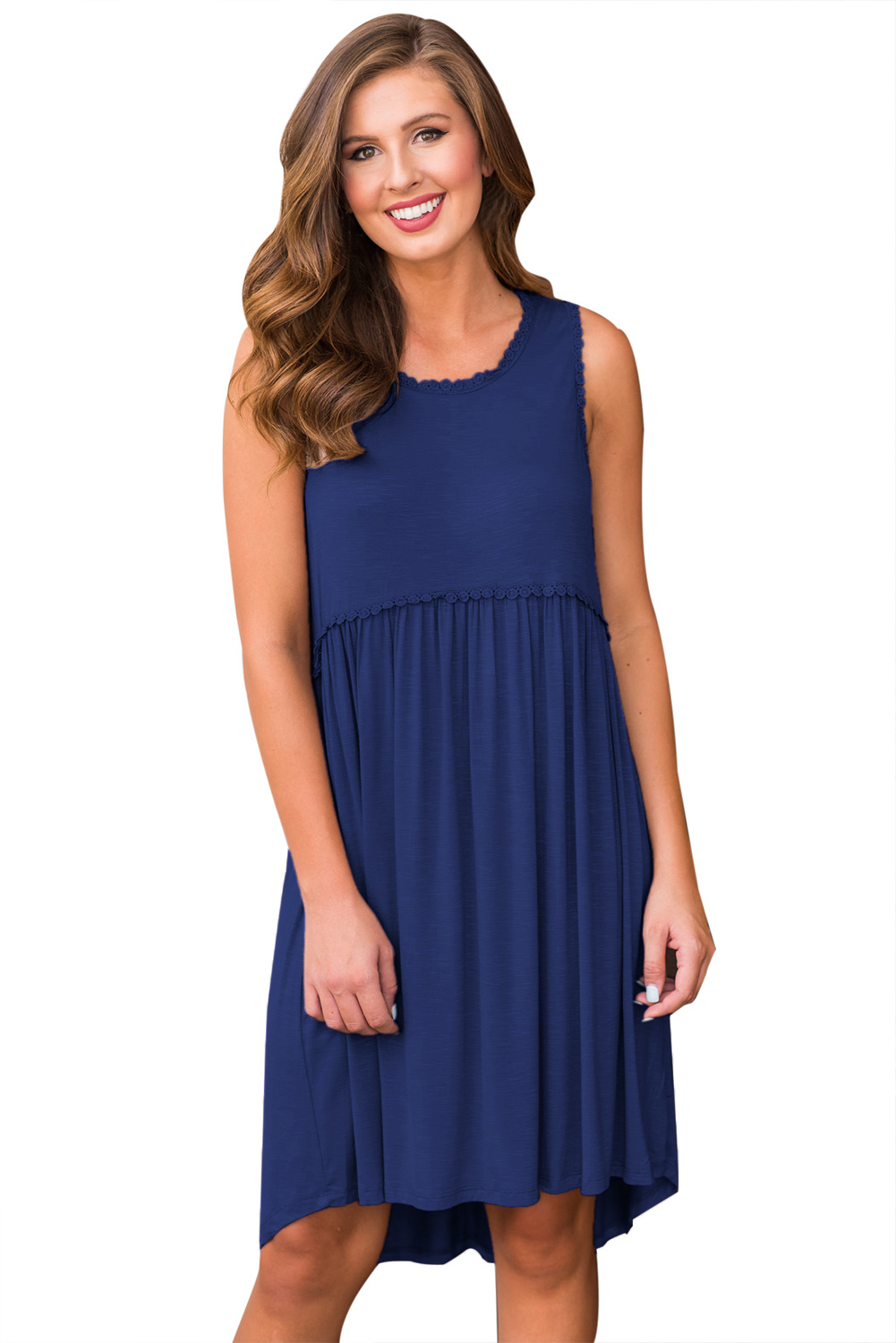 Blue Tank Top Bodice Ruched Detail Swing Dress