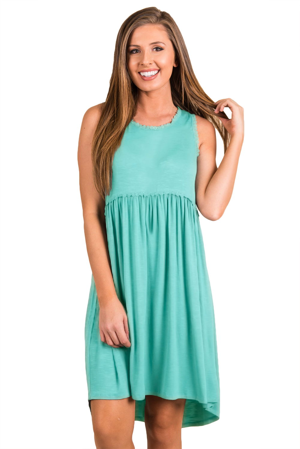 Sage Green Tank Top Bodice Ruched Detail Swing Dress
