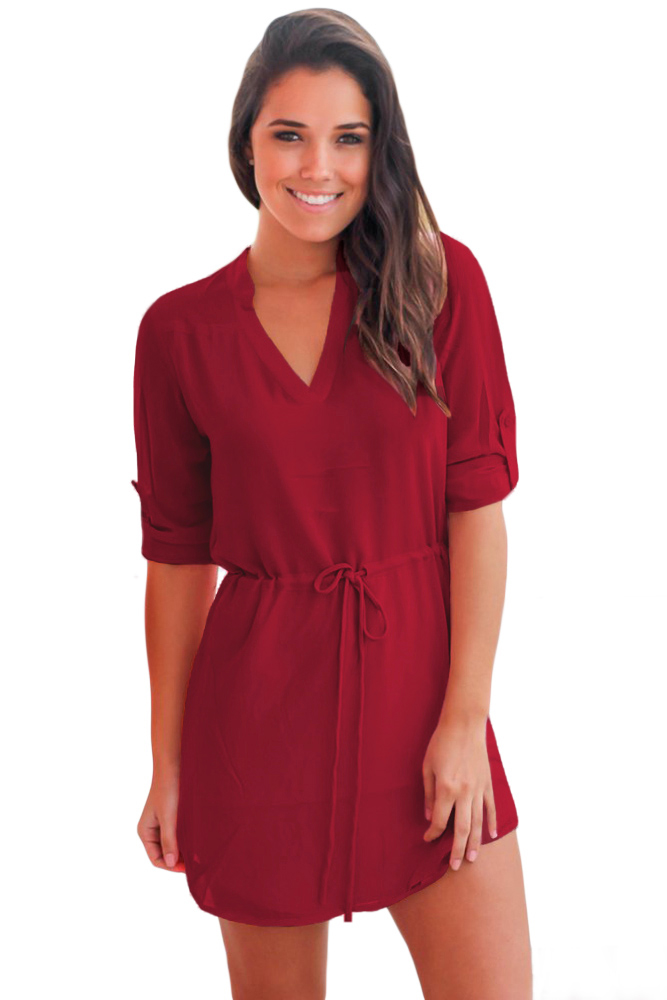 Burgundy Chiffon Roll-tab Sleeve Shirt Dress