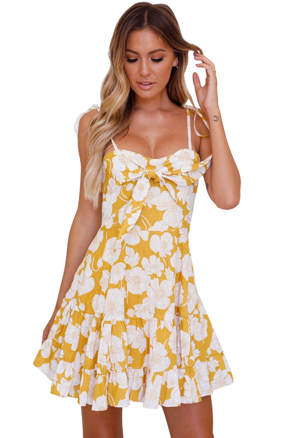 Yellow Floral Print Tassel Tie Sweet Sundress