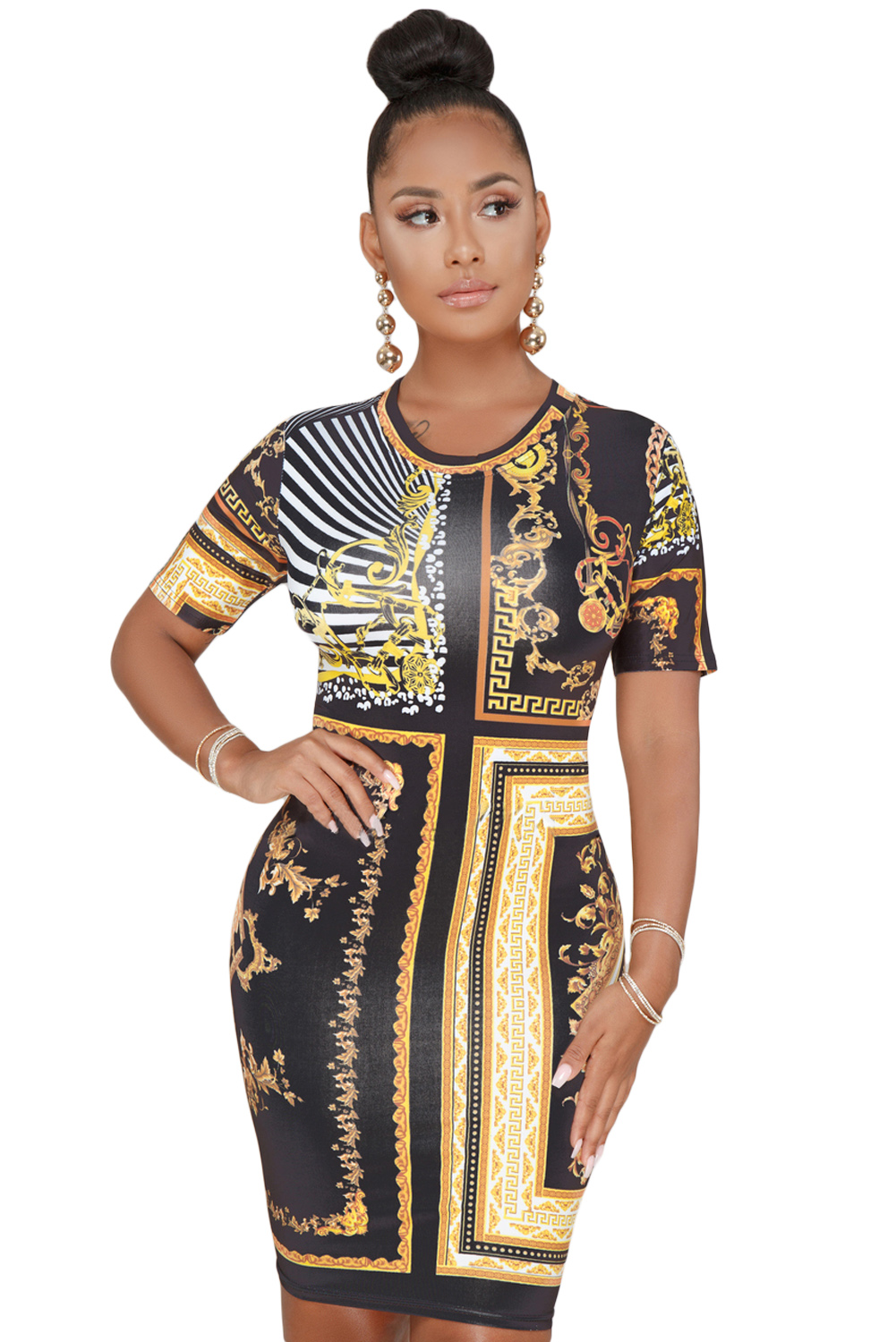 Black Gold Chain Print Dress