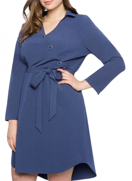 NAVY BLUE DIAGONAL BUTTON DETAIL V NECK PLUS SIZE DRESS