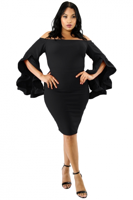 BLACK PLUS SIZE CHA CHA BODY-CON DRESS