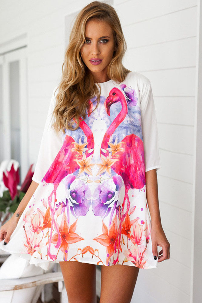 Violet Flamingo Swing Dress