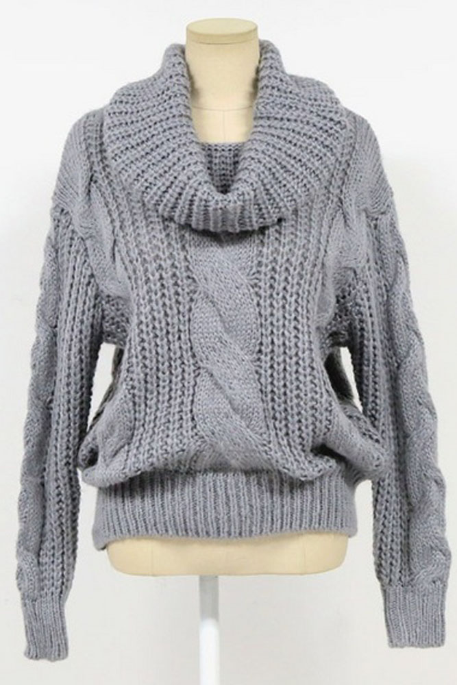 Grey Oversized Cowl Neck Cable Knit Sweater [LC27608GY] - $15.99 ...
