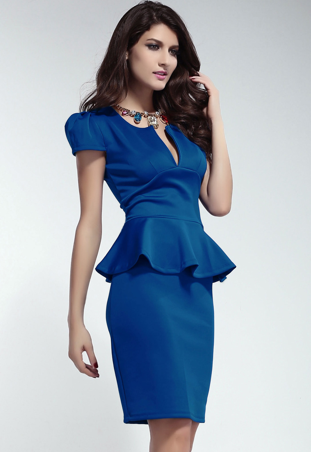 Blue U-neck OL Peplum Dress