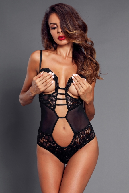 BLACK LACE MESH CUTOUT OPEN CUP TEDDY