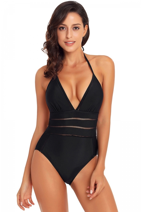 BLACK MESH STRIPED DETAIL HALTER TEDDY SWIMSUIT