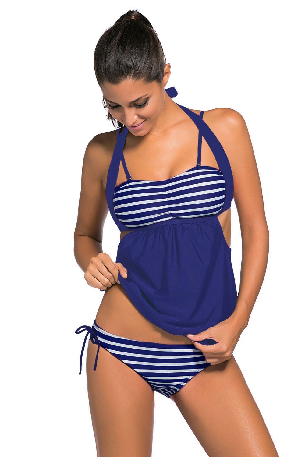 Navy White Stripes Navy Splice Tankini Swimsuit