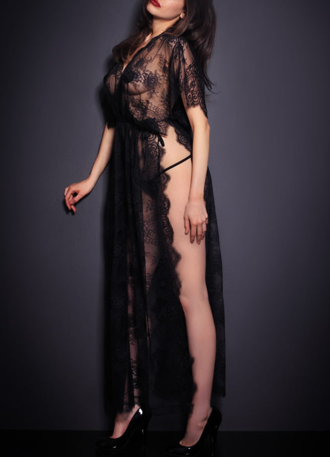 Black Sheer Lace Kaftan Robe with Thong