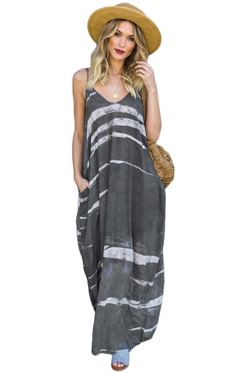 Gray Multi Colors Tie Dye Holiday Maxi Dress
