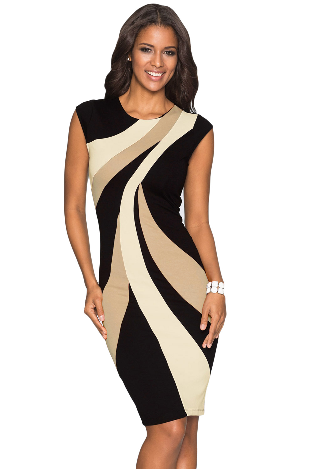 Taupe Accents Colorblock Geometric Pattern Tube Dress