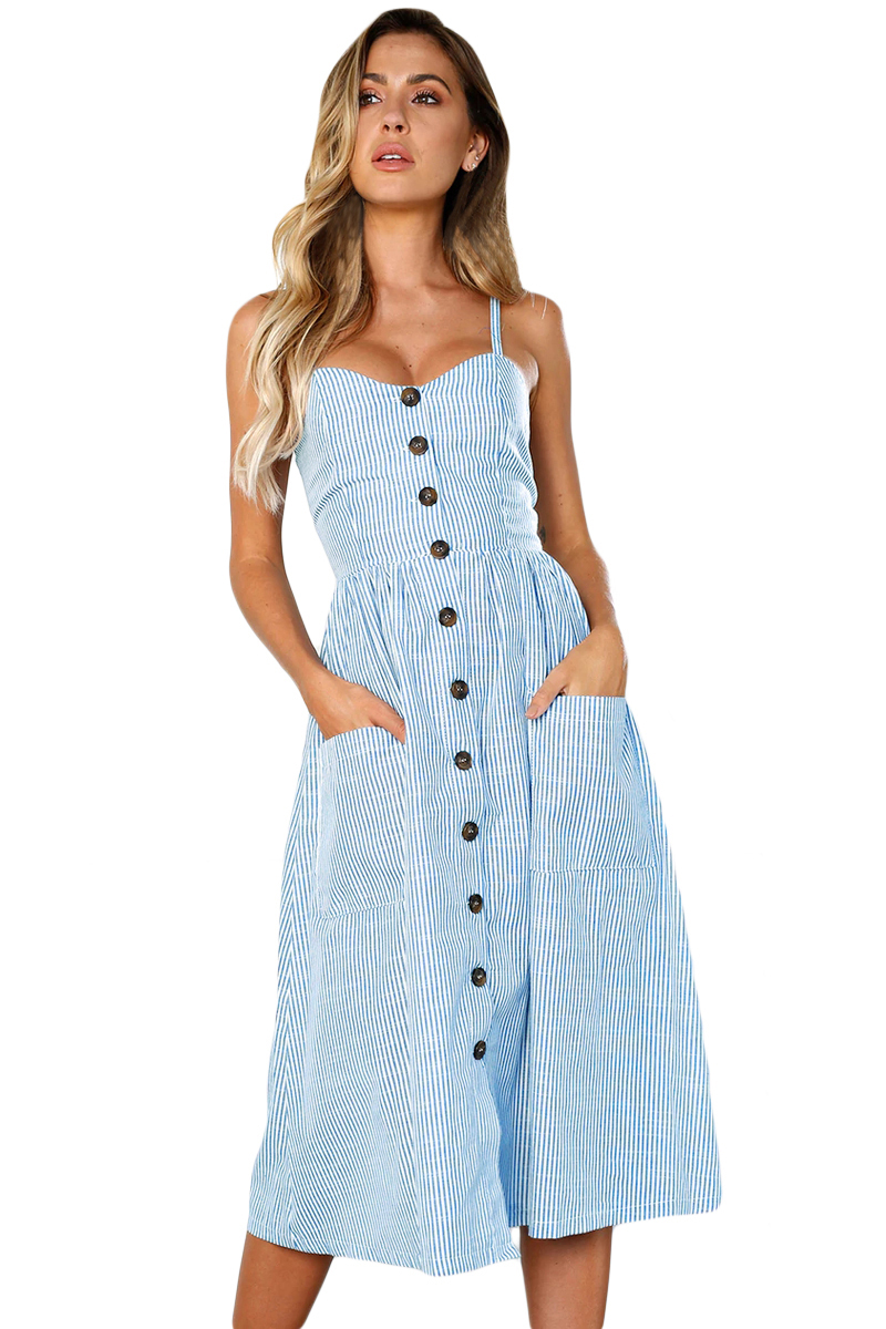 Blue White Striped Button Down Mid Calf Dress
