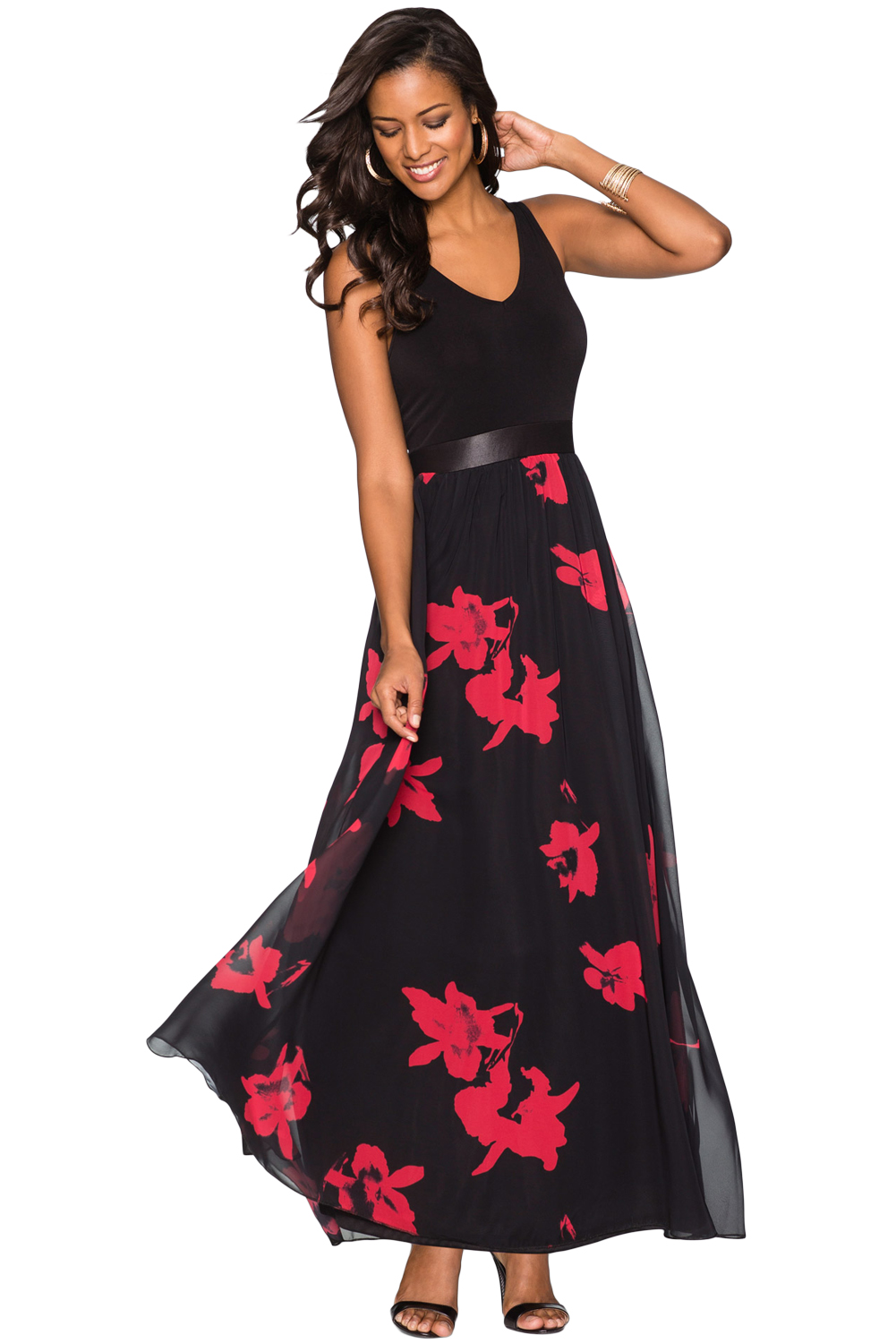 Black & Red Floral Mesh Skirt Sleeveless Maxi Dress