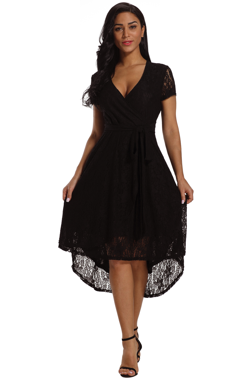 Black Wrap and Tie Lace Hi-lo Midi Dress