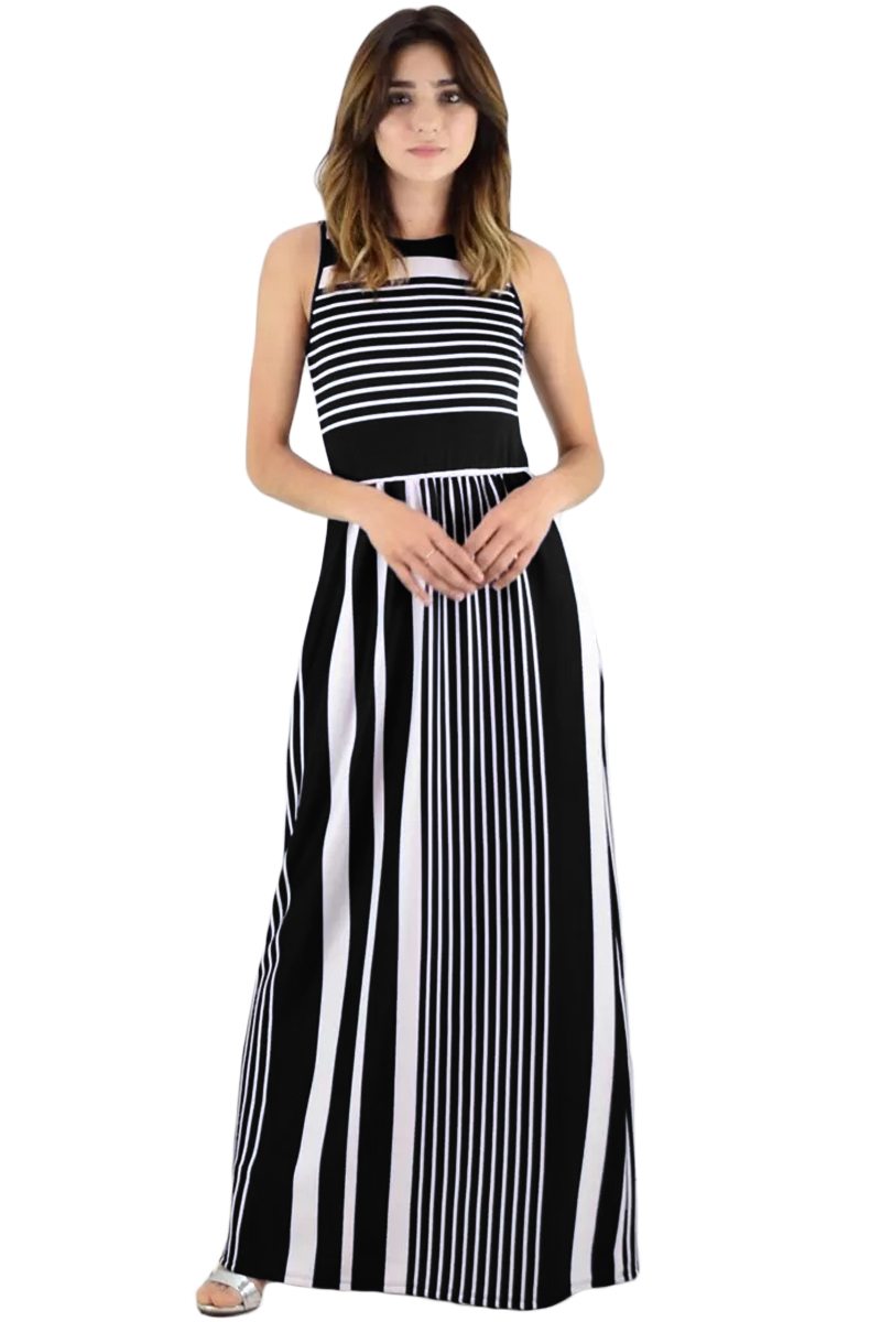 Black White Striped Pocket Style Maxi Tank Dress