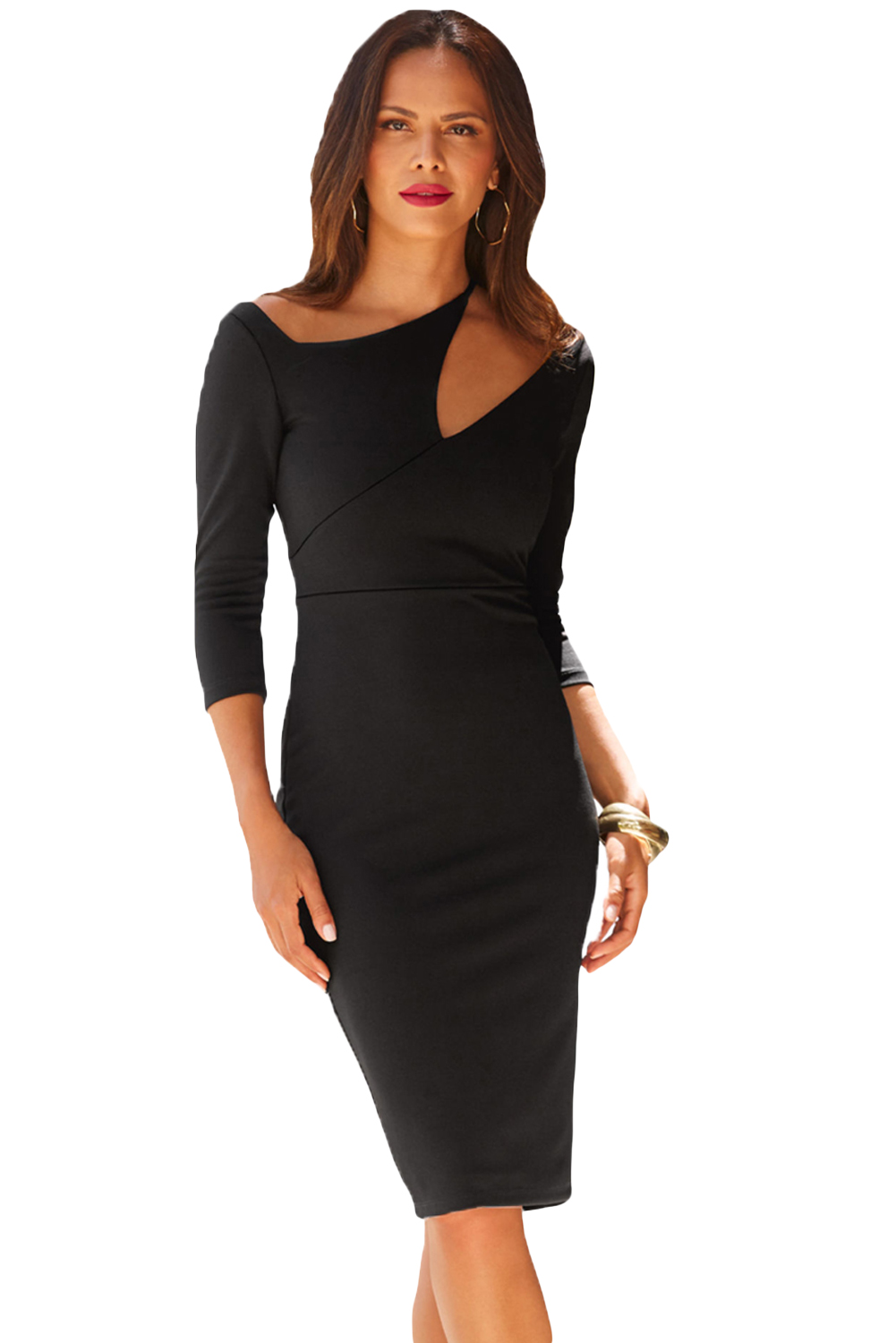 Black Asymmetric Cutout Shoulder Bodycon Midi Dress