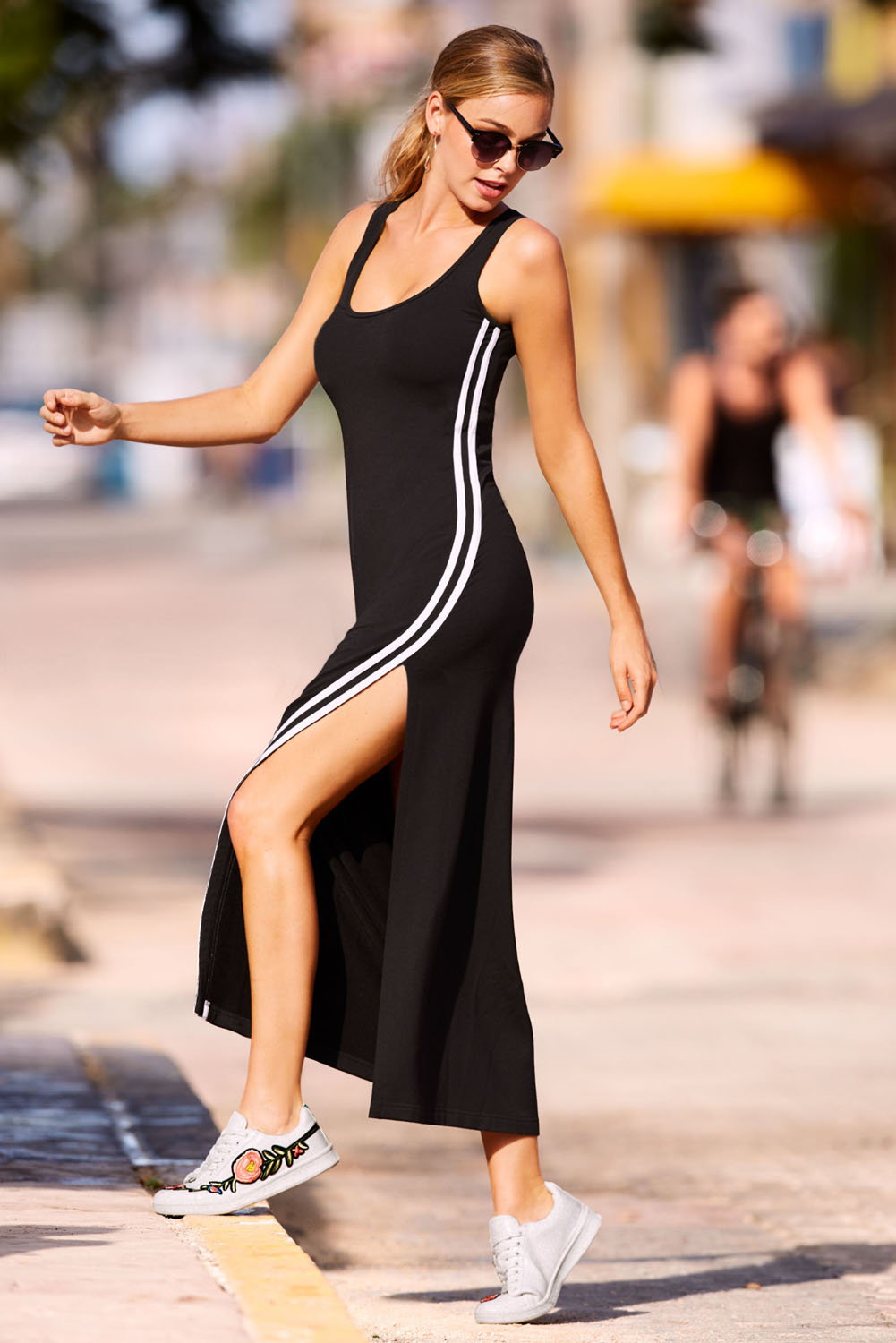 Racer Stripe Detail Black Sleeveless Maxi Dress