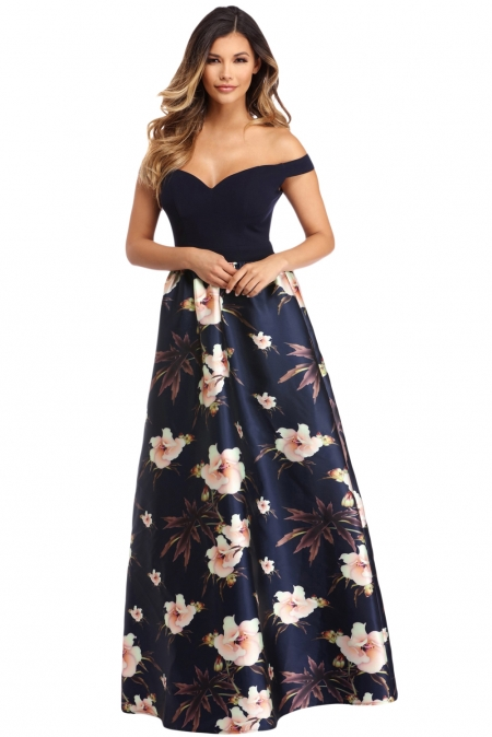 OFF SHOULDER SWEETHEART NECK BODICE NAVY FLORAL PRINT GOWN