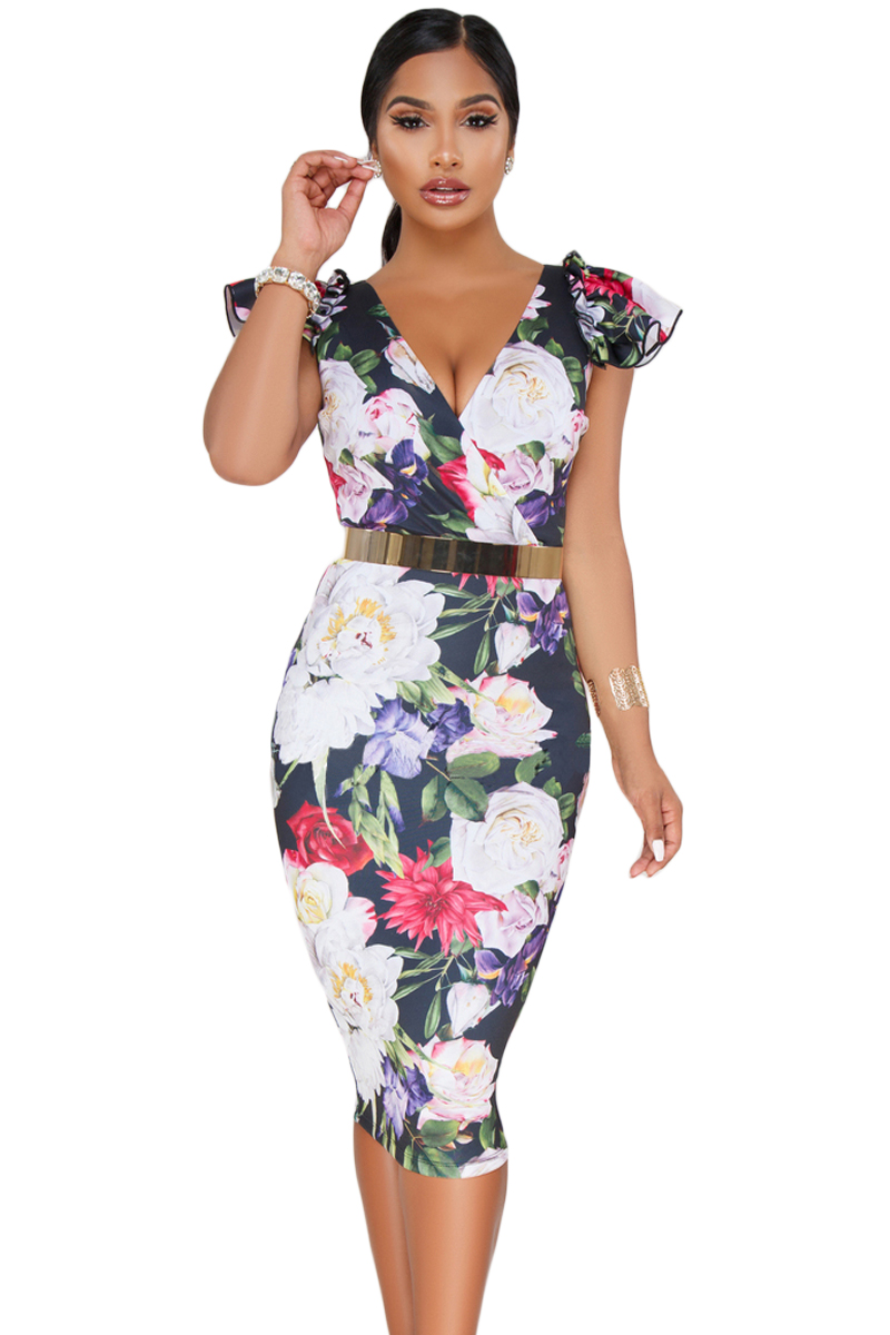 Dark Blue Bodycon Midi Dress with Floral Print