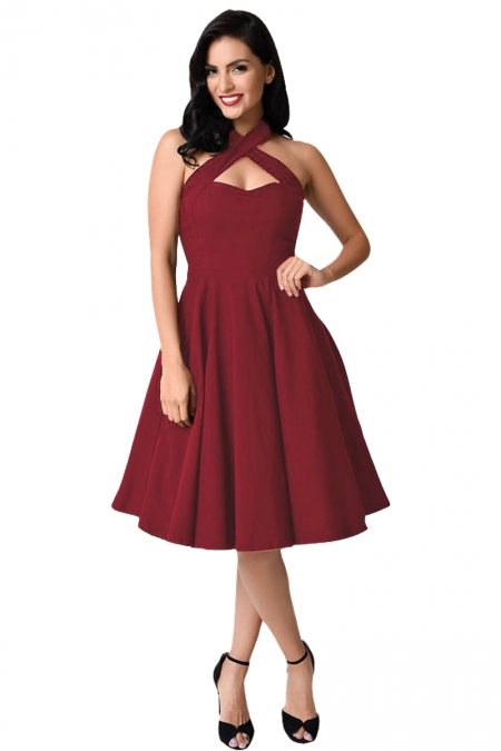 BURGUNDY CROSS HALTER VINTAGE FLARE DRESS