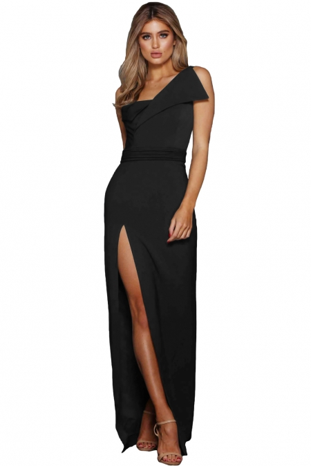 BLACK ASYMMETRIC ONE SHOULDER FLOOR LENGTH PARTY DRESS