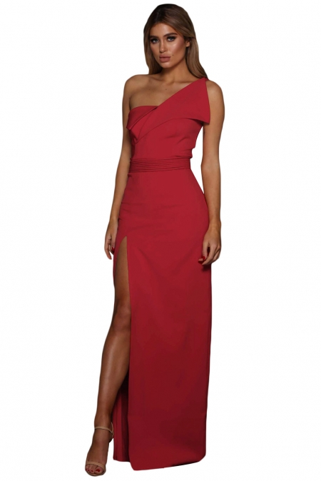 RED ASYMMETRIC ONE SHOULDER FLOOR LENGTH PARTY DRESS