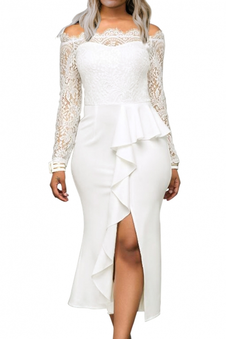 WHITE RUFFLE DETAIL LACE OFF SHOULDER MIDI DRESS